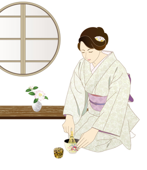 Woman who points green tea _ round window