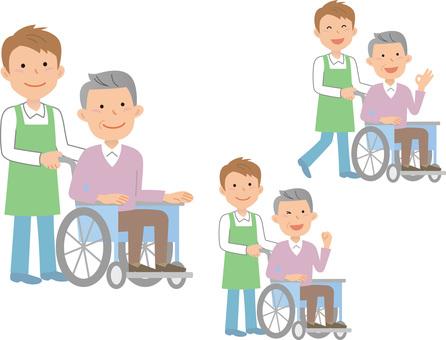70916. Wheelchair Male, Caregiver, Set 2