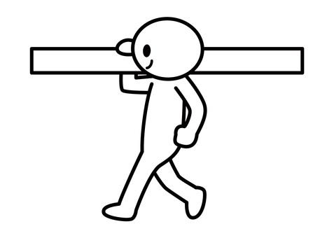 【Subject】 Stickman - Carry timber