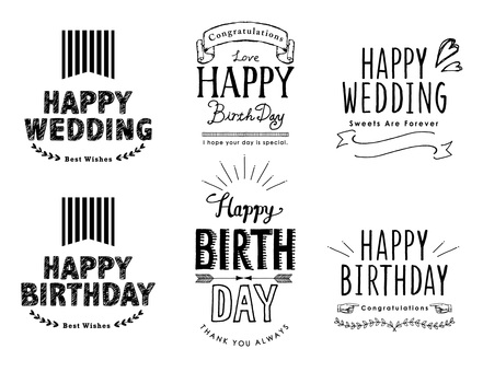 생일, 웨딩 장식 문자