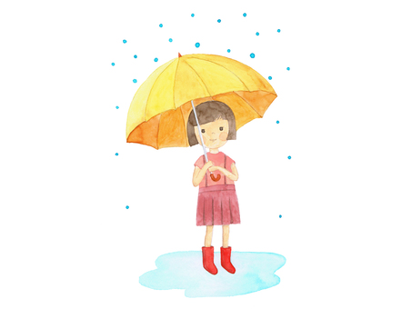 Girls and umbrellas and rain