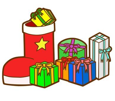 선물과 크리스마스 부츠