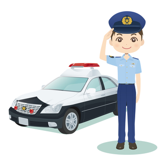 Male police officer & police car