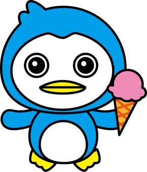 Penguin to eat ice cream