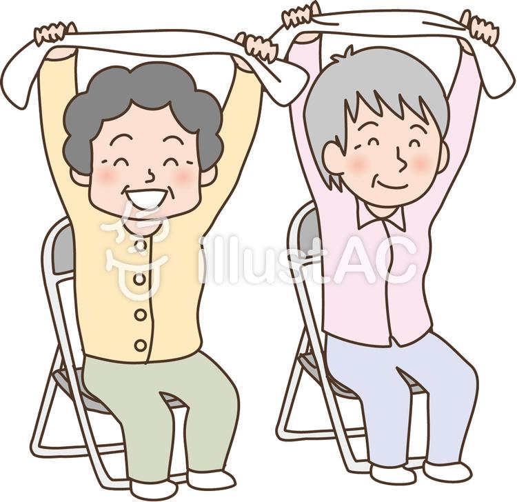 タオル体操するお年寄りのイラスト