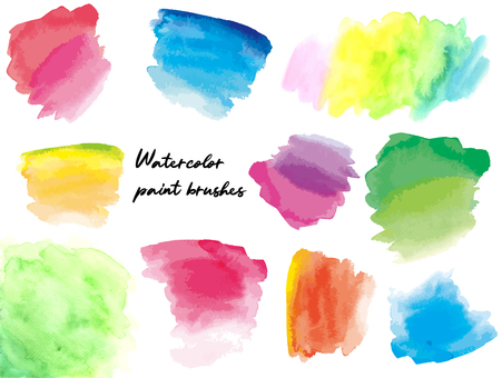 Watercolor brushstrokes background set