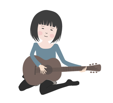 A girl playing a guitar 1