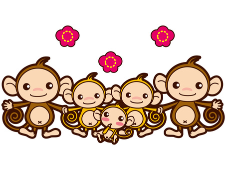 Five cute monkey family