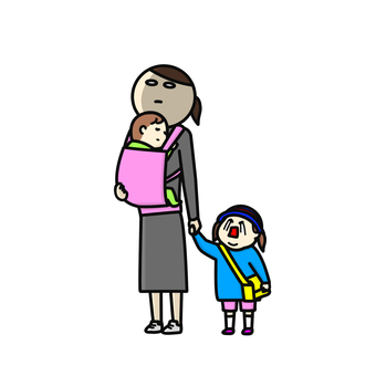 A waking mom with a crying child