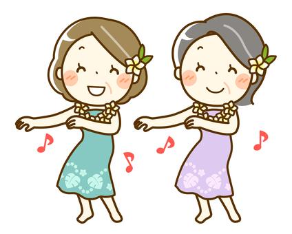 フラダンスを楽しむシニア女性たち