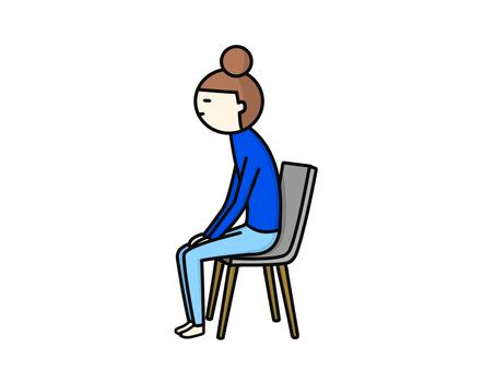 의자 새우등 옆모습 블루