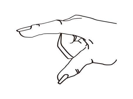 Pointing hand sign _ hand drawn real _ line drawing