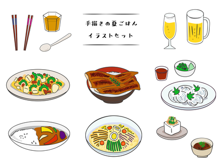 Hand drawn style summer rice illustration set
