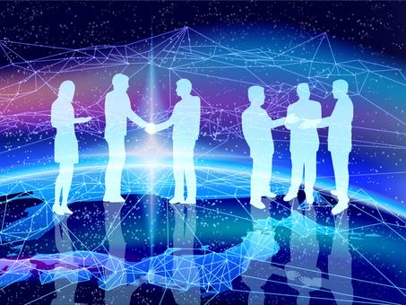 ビジネスの幕開け-握手する男女と地球