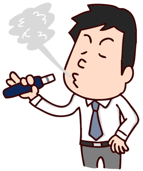 Illustration of a man smoking an electronic cigarette