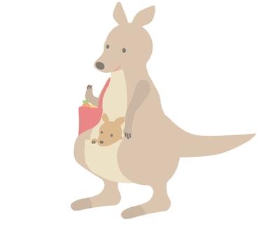 Kangaroo parent and child shopping