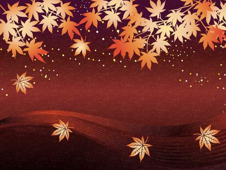 Autumn leaves Maple water running image Washi gift 03