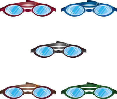 Underwater glasses illustration assortment set