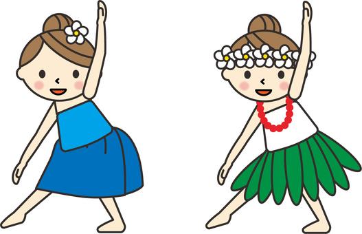 フラダンスを踊るフラガール