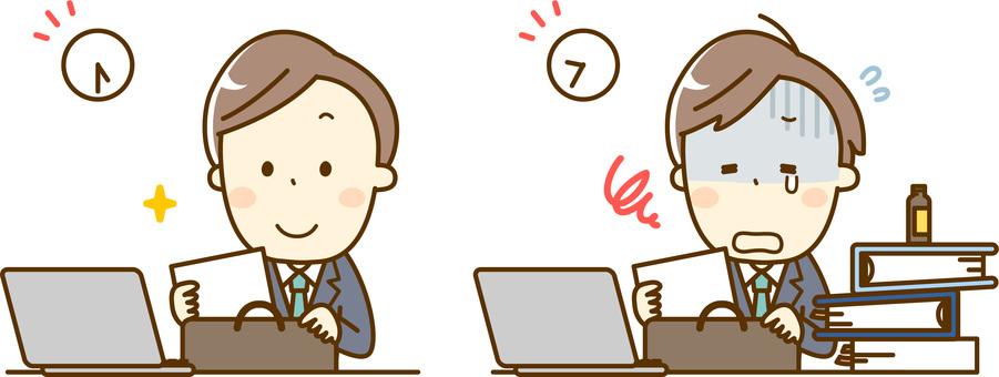 Employee salaryman _ regular workers and overtime