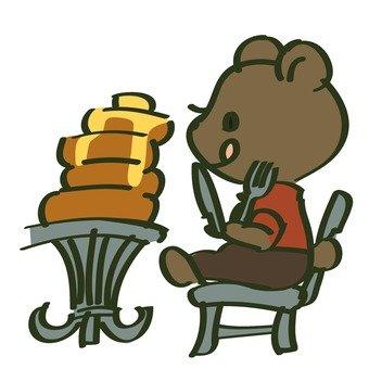 Bears eating hot cake