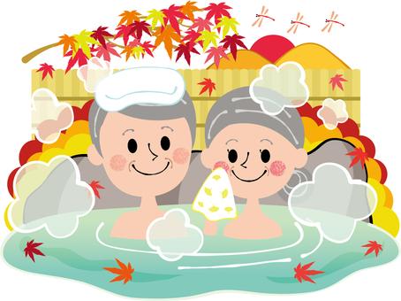 秋季溫泉秋葉紅色蜻蜓日落老年夫婦