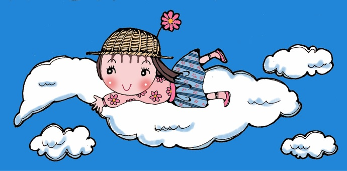 Girl riding in the clouds