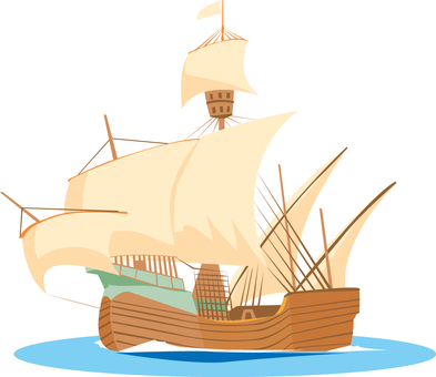 Sailing boat in the age of the voyage