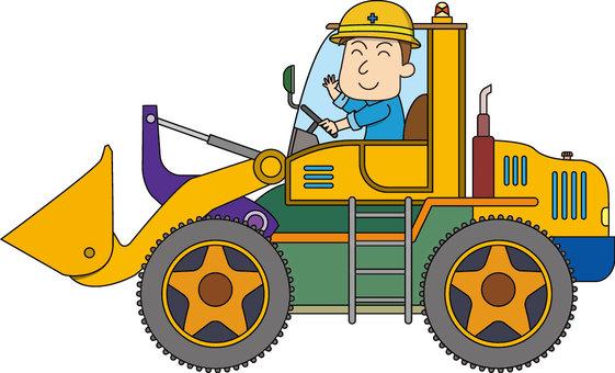 Working people - bulldozer driving