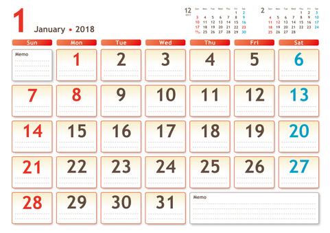 2018年カレンダー 1月