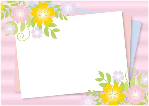 Spring pink flower frame