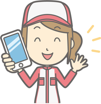 Mechanic woman - having a smartphone - bust