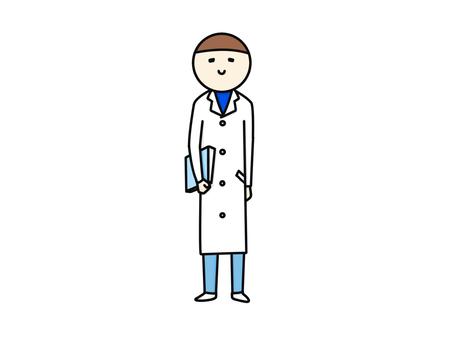 在白色外套的男性藍色