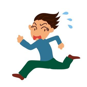 Male running away