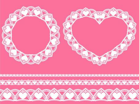 Heart pattern lace set · White