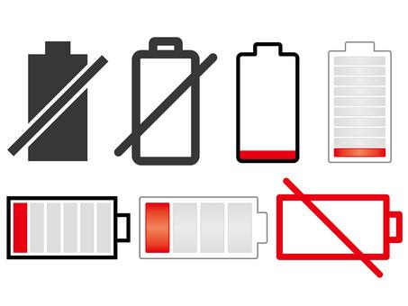 Dead battery icon set