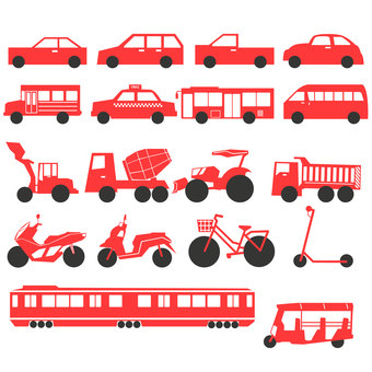 Illustration of various vehicles