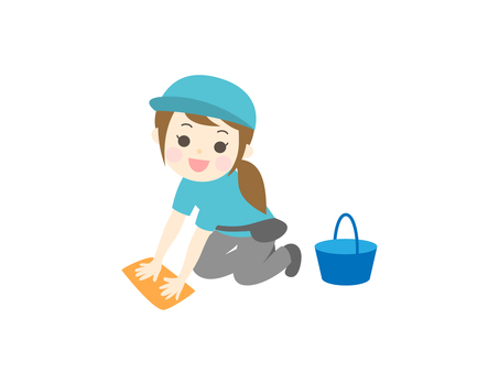 Female cleaning staff doing rags