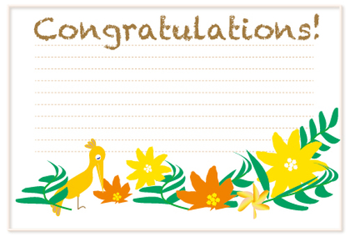 Tropical birds and flowers celebration message card
