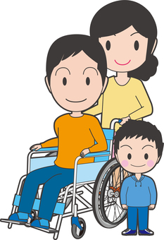 Men and their families on a wheelchair