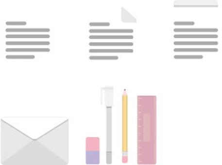 Office stationery illustration set