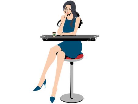 カフェで座る女性(青いドレス)
