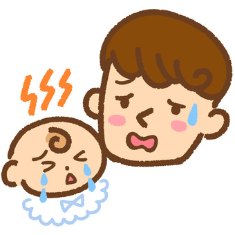 Illustration of a father who is in trouble with a crying baby