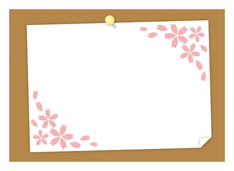 Paper on cork board (with cherry blossoms)