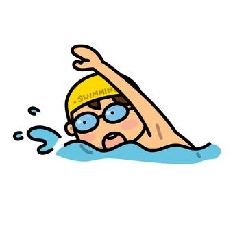 Boy swimming with crawl