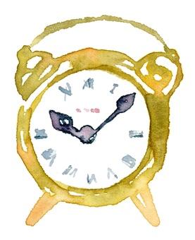 Table clock bell alarm watercolor