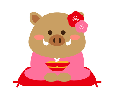猪 (girl) wearing a kimono