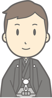 Groom Japanese clothes - seat sitting - bust