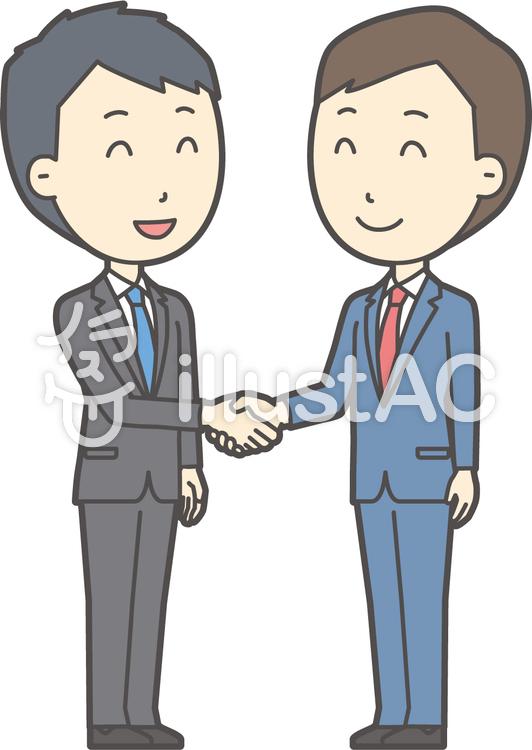 青年スーツ青と握手-006-全身のイラスト