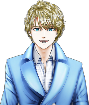 Young man wearing a blonde blue coat Face up